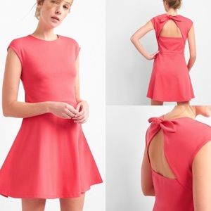 GAP open back fit & flare pink dress size 2 NEW